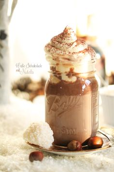 nutella hot chocolate with snowflake chocolates