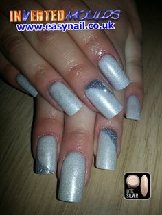 Gorgeous LiteSilver Inverted Moulds with Silver Glitter wedges by Kerry Oconnor Kerry NailTech for her client Hanna Powell   IM Nail Training and products available from www.easynail.co.uk   #Invertedmoulds #nails #nailart #acrylicnails #litesilver #silver