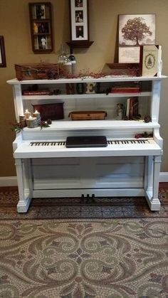 Repurposed upright piano into a useful desk. Visit my facebook page cottage treasures for more info.