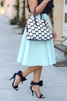 Bows and Dots (plus sale alert) - Bow heels - full mint skirt and bow tile purse  - Stylish Petite