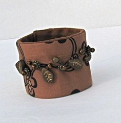 Brown Beaded Fabric Cuff by LauraGlassArtQuilts on Etsy, $16.00