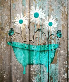 Teal Brown Farmhouse Bathroom Decor, Teal Daisy Flower, Butterflies, Country Rustic Bath Home Decor Matted Picture