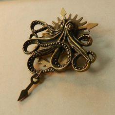 Steampunk Sky Kraken Brooch