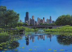 View of Chicago from Lincoln Park, oil on canvas