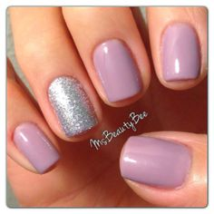 Gelish - Princess Tiara nail polish. This color is lavender when you initially paint it and fades to a lavender grey. Martha Stewart silver glitter in sterling on the accent nail. #nails #nailart #fashion