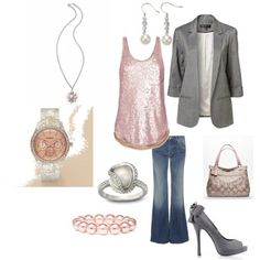 Grey / pink outfit. (minus the pearls)
