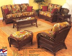 Kona Fruitwood Sunroom Set and Individual Pieces, by Stanley Chair