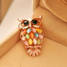 Opal Rose Gold owl Bijoux Ziron brooch pins women Animals Brooches Pin Vintage Collar Personality Jewelry XZ034