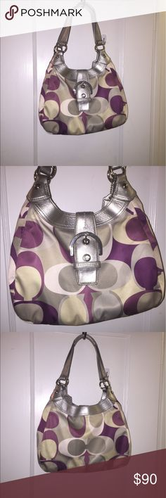 Authentic Coach Madison Opt Art Hobo Purse Beautiful purple and silver Coach hobo purse with 3 deceivingly roomy compartments! Cute buckle that buttons in the front! Preowned but in good condition review pictures no stains! Coach Bags