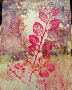 Gelli print artwork with leaves by @colorfulartgirl