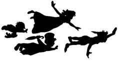 Peter Pan, Wendy, Michael and John silhouettes. Free .jpg OR .svg files!