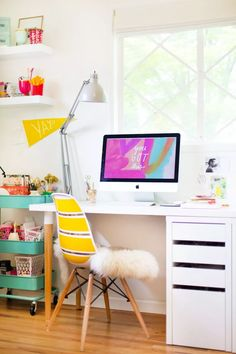 Custom IKEA desk, barcart, by the window