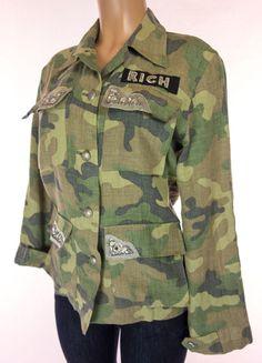 JOHN RICHMOND Jacket Size 42 8 M Medium Green Army Camo Embellished Sex Button #JohnRichmond #BasicJacket