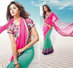 Elegant Sea Green and Pink Faux Chiffon Half and Half Saree embellished with Crystal, Print and Patch Border Work.  Saree comes with matching unstitched blouse can be made available and can be customized according to your size and design.