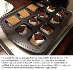S'mores in your Brownie Pan! Get your pan today. S'mores in your Brownie Pan! Get your pan today. Pampered Chef Party, Pampered Chef Recipes, Pampered Chef Products, Brownie Pan, Brownie Recipes, Slow Cooker Recipes Dessert, Dessert Recipes, Trifle Desserts, Easy Desserts