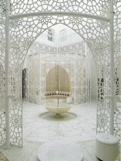 Fountain with white lace details interior center living room greeting room design heart of the household want white lacy cutouts wow stunning  Beautiful Bedrooms