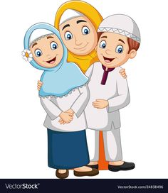 Muslim mother with son and daughter vector image on VectorStock Happy Cartoon, Cartoon Kids, Eid Mubarak Stickers, Muslim Pictures, Kids Reading Books, Mothers Day Images, Ramadan Activities, Quran Book, Unicorn Painting