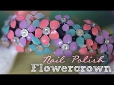 DIY: Nail Polish Flowercrown tutorial video - this is gorgeous! Made with battery-operated lights but I like it without. Would be so pretty for a little girl photo shoot Nail Polish Flowers, Nail Polish Jewelry, Nail Polish Crafts, Nail Polish Art, Nail Polishes, Gel Nail, Nail Art, Diy Nagellack, Wire Flowers