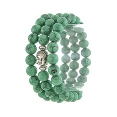 "Buddha charm semi-precious stone stretch bracelet set. Approx. 2.5"" diameter Lead/Nickel compliant Stretch band"