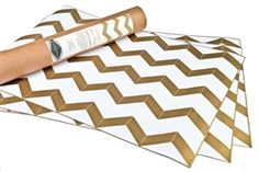chevron gold drawer liners.... these would look cool lining an open bookcase