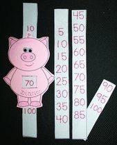 Count to 100 by 1's, 5's, or 10's with this piggy slider. Students trace the numbers. Great for whole-group assessing or I Spy games too. FREEBIE :-)
