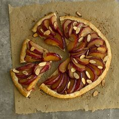 Rustic Plum and Almond Tart    Enjoy an extra richness in the crust of this simple tart. It contains low-fat ricotta cheese and a bit of vanilla extract for a punch of sweet and savory flavors that complement the juicy plums.