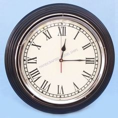 """Black/Chrome Wall Clock 17"""" from Handcrafted Nautical Decor - In stock and ready to ship"""