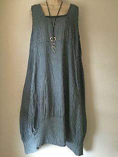 Quirky-Lagenlook-Balloon-hem-Linen-Pinstripe-dress-Plus-size-16-18-Denim-Blue