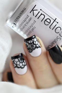 Marine Loves Polish: Nailstorming - Saint Valentin / Lace Nail Art [VIDEO TUTORIAL] - Black lace nails - BM-XL302 - Bundle Monster - Sexy nail art
