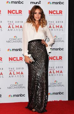 Jessica Alba at the ALMA Awards: love the combination of the collared shirt with the sparkling high waisted maxi skirt.