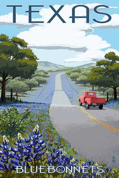 Texas - Bluebonnets and Highway (Art Prints available in multiple sizes)
