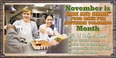 November is Care and Share Food Bank for Southern Colorado Month. 3% of online sales will be donated to help provide food to those in need throughout 52,000 square miles of Southern Colorado. bigronline.com #BigR #Charity #FoodBank #CareandShare