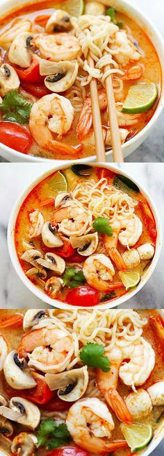 Quick and easy Thai shrimp noodle soup made with instant ramen noodles. Loaded with shrimp, mushrooms, herbs, tomatoes and mouthwatering Thai Tom Yum soup | rasamalaysia.com