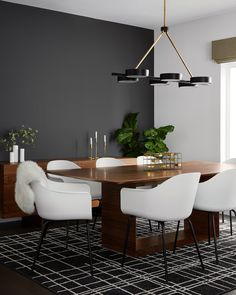 Accent Walls In Living Room, Dining Room Walls, Living Room Grey, Living Room And Dining Room Design, Black And White Dining Room, Dark Grey Rooms, Black And White Chair, White Chairs, Dinner Room