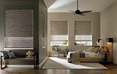 Provenance® woven wood shades Bamboo Blinds, Wood Blinds, Woven Wood Shades, Fabric Shades, Window Coverings, Window Treatments, Honeycomb Shades, Hunter Douglas, Custom Drapes