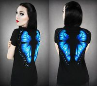 Women Blouses 2017 T European Fashion Butterfly Girl 3D Printing Lovely Sexy Elastic Force Round Neck Short Sleeve Tee Shirt