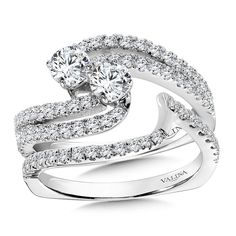 Valina - Two-Stone Diamond Engagement Ring Mounting in 14K White Gold (.95 ct. tw.) #RT9866W