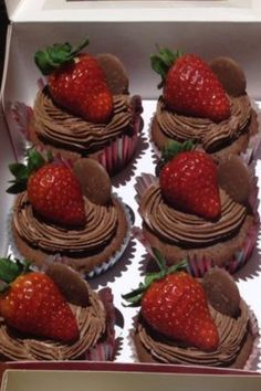 Strawberry and chocolate cupcakes