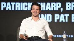 Patrick Sharp answers questions on a panel at the Blackhawks Convention.