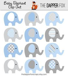 Blue and Grey Elephant Clip Art - INSTANT DOWNLOAD - Baby boy baby shower clipart elephants         January 03, 2014 at 01:02AM
