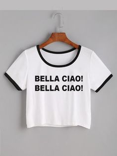 Camiseta crop top bella ciao varios colores Teen Girl Fashion, Girls Fashion Clothes, Love Clothing, Fashion Outfits, Pajama Outfits, Crop Top Outfits, Trendy Outfits, Cool Outfits, Belly Shirts