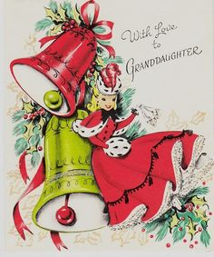 Belle with Christmas bells. Family Christmas Cards, Old Christmas, Old Fashioned Christmas, Vintage Christmas Cards, Retro Christmas, Christmas Bells, Christmas Greeting Cards, Christmas Pictures, Christmas Greetings