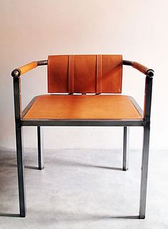 Arm Chair - Metal meets leather - each piece is made to order by the hands of a skillful artisan Cool Furniture, Modern Furniture, Furniture Design, Leather Furniture, Outdoor Furniture, Modern Dining Chairs, Outdoor Chairs, Love Chair, Take A Seat