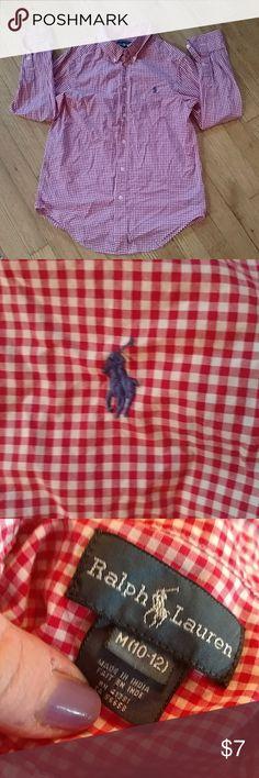 Boys ralph lauren button down sz medium Red and white boys button down w Ralph Lauren logo. Sz medium Ralph Lauren Shirts & Tops Button Down Shirts