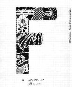 Trublion's Work : Lettre majuscule F, Lettrine dessin à la plume et encre de chine.