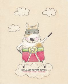 superdog - boy name print - childrens wall art - nursery art - 8x10 inches on Etsy, $25.00 AUD