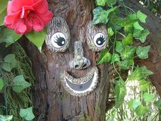 Tree face garden ornaments sculptures statues funny faces
