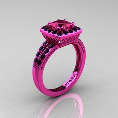 Classic 14K Pink Gold 1.23 Carat Princess Pink Sapphire Black Diamond Solitaire Engagement Ring R220P-14KPGBDPS