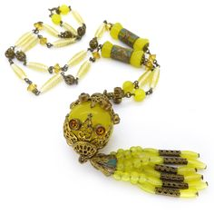 Vintage Art Deco Czech Yellow Glass Ball Drop Ornate Filigree Glass Bead Necklace | Clarice Jewellery | Vintage Costume Jewellery