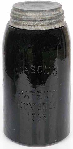 7937. BLACK GLASS Masons PATENT NOV 30th 1858 Qt Hemingray - Listing # 7937